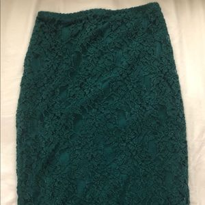 Hunter green lace pencil skirt